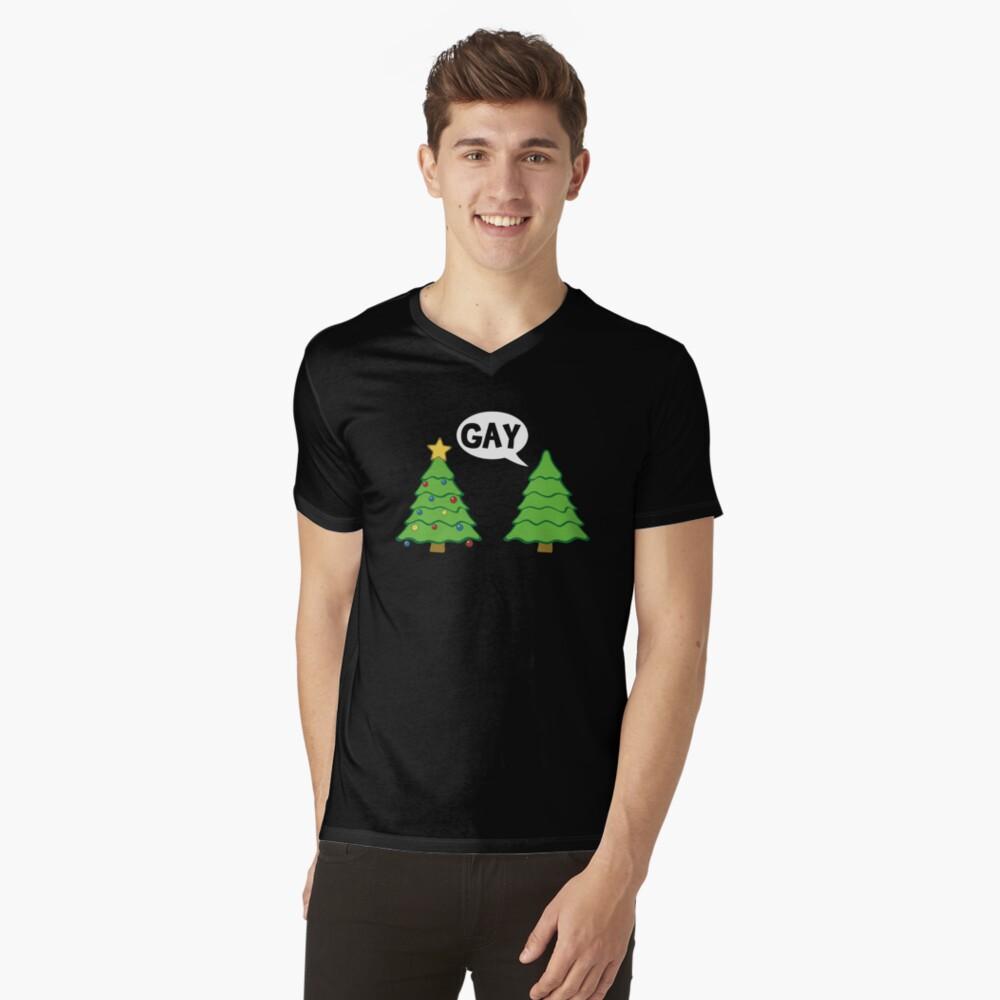 Gay Christmas Tree Funny Xmas Holiday V-Neck T-Shirt