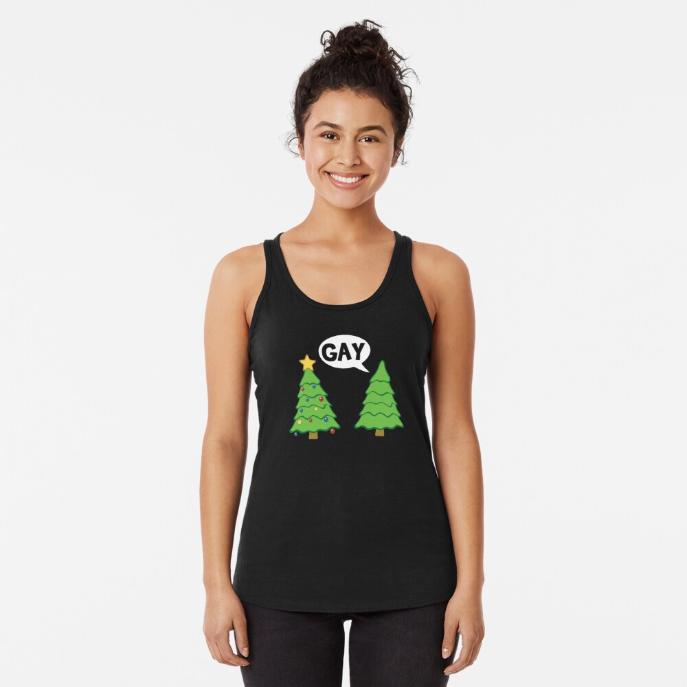 Gay Christmas Tree Funny Xmas Holiday Racerback Tank Top