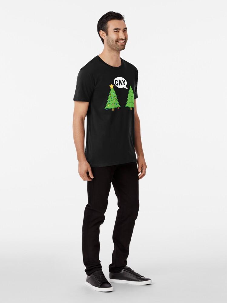 Alternate view of Gay Christmas Tree Funny Xmas Holiday Premium T-Shirt