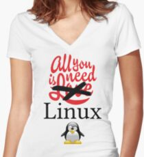 Geek Nerd - All you need is linux love Women's Fitted V-Neck T-Shirt