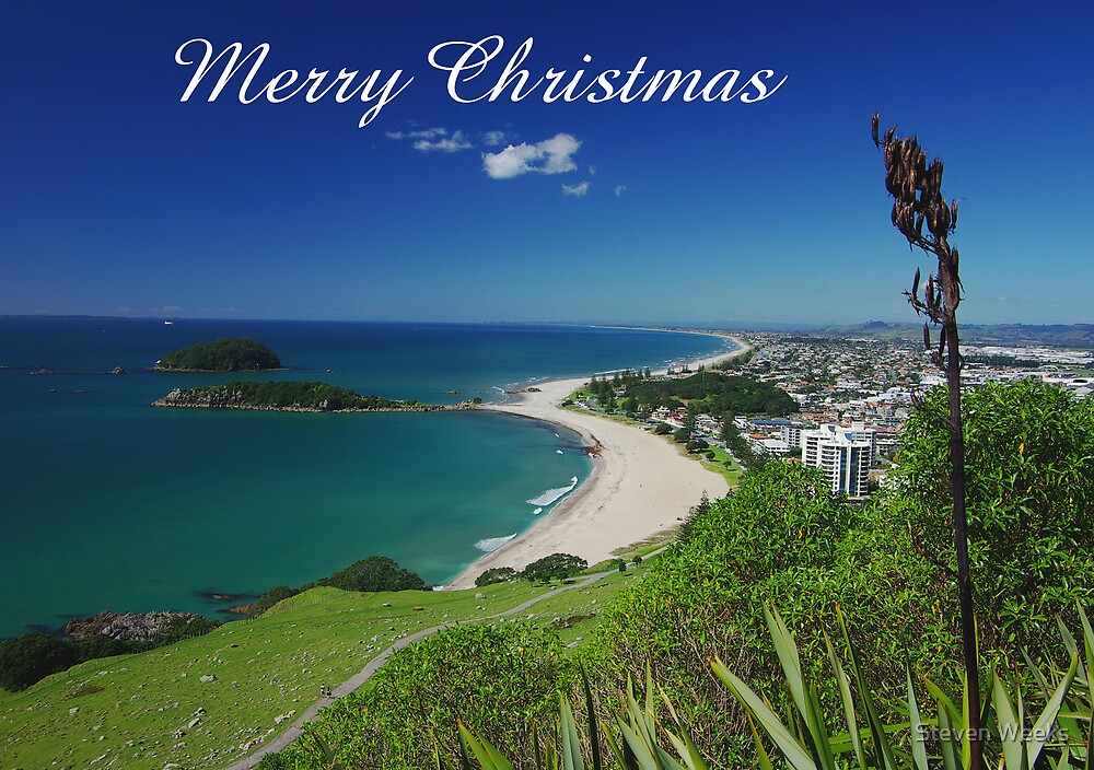 Mount Maunganui, Merry Christmas by Steven Weeks