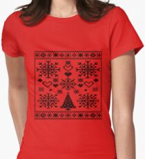 Christmas Cross Stitch Embroidery Sampler Black And White T-Shirt