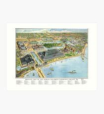 1893 Map of Chicago World's Fair Art Print