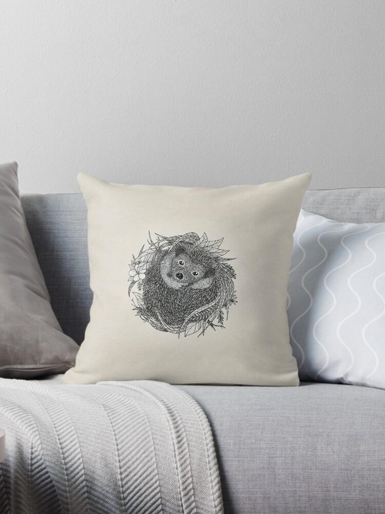 Hedgehog ink illustration / Beige by hheyann
