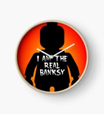 "Black Minifig with ""I am the Real Banksy"" slogan by Customize My Minifig Clock"
