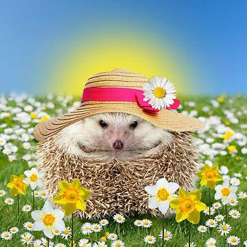 Hedgehog wearing spring bonnet in flowers by ArdeaOnline