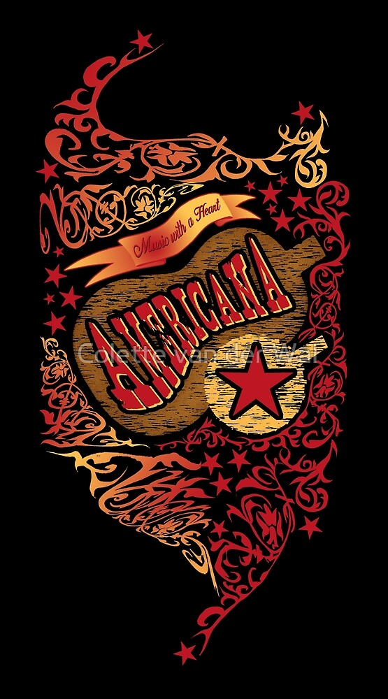 AMERICANA - Music with a Heart (BLACK BACKGROUND) by Colette van der Wal