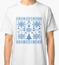 Christmas Cross Stitch Embroidery Sampler Teal And White Classic T-Shirt