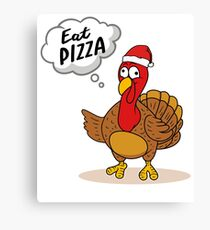 Eat Pizza Funny Turkey Christmas Dinner Party Gifts Canvas Print