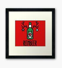 Reinbeer = Reindeer + Beer Framed Print