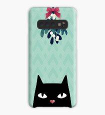 Mistletoe? (Black Cat) Case/Skin for Samsung Galaxy