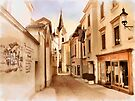 Kirchengasse in Ybbs mit Loeb Geschaeft by Menega  Sabidussi
