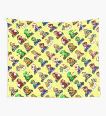 Super Mario Kart / 18 characters pattern / yellow sky Wall Tapestry