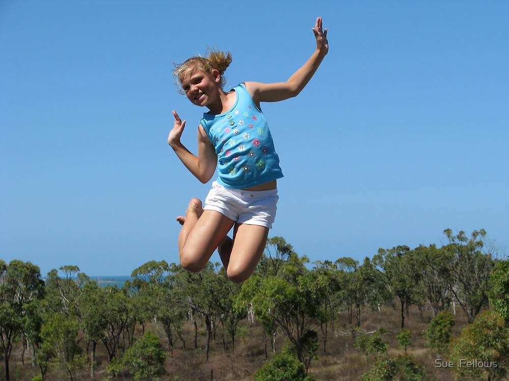 ..My niece, Eliza...Jumping Higher Than The Trees.. by Sue  Fellows