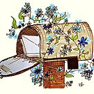 Open Mailbox Flowering Vines Art by ClarasDesk