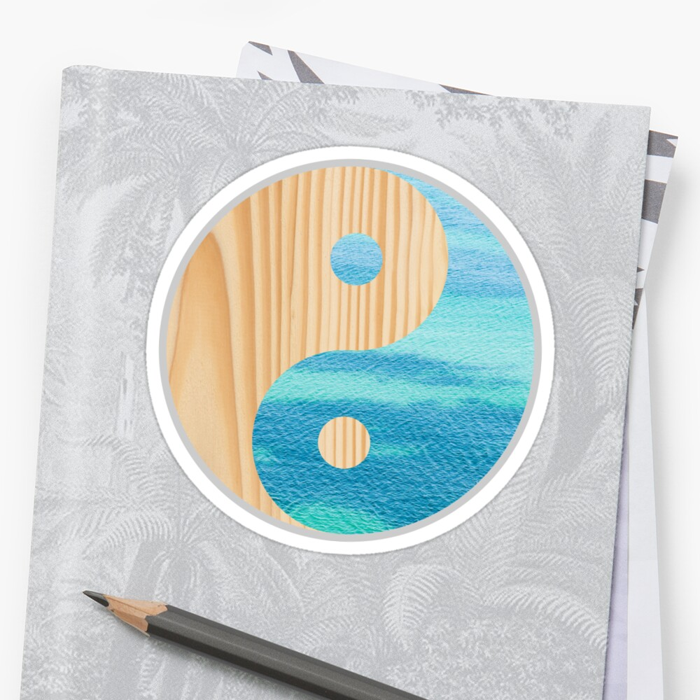Yin and Yang Symbol Wood texture and Water surface by igorsin