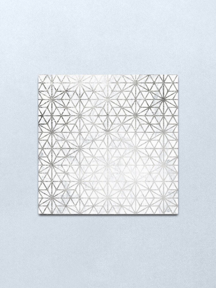 Alternate view of Modern silver stars geometric pattern Christmas white marble Metal Print