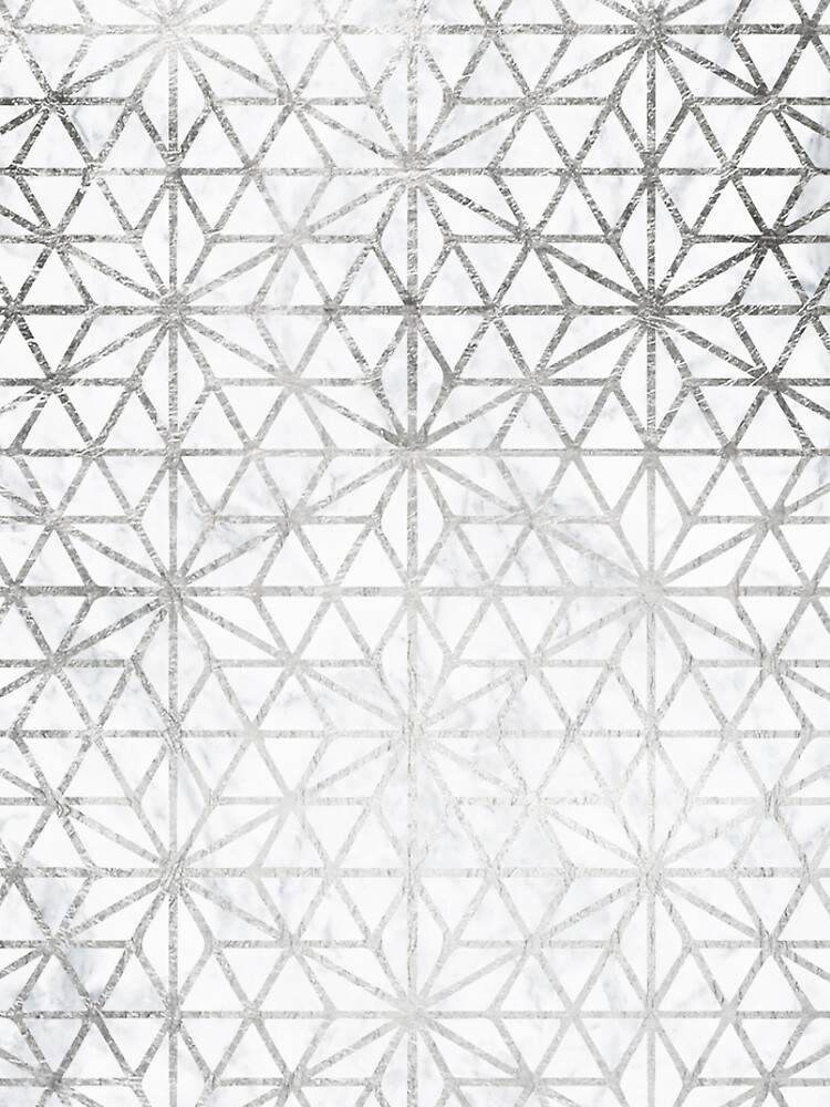 Modern silver stars geometric pattern Christmas white marble by GirlyTrend