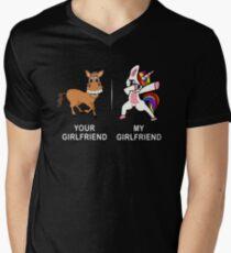 Your Girlfriend My Girlfriend Funny Cute Dabbing Unicorn T-shirt  Men's V-Neck T-Shirt