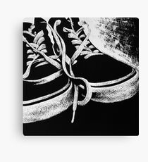 Scratchboard Hightop Shoes Canvas Print