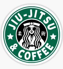 JIU JITSU AND COFFEE - FUNNY BRAZILIAN JIU JITSU Sticker