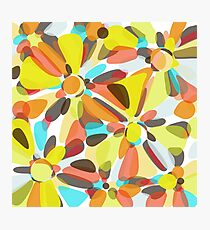 Orange, Lime-Green, Blue and Red Flower Design Photographic Print