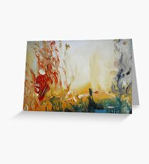 Abstract Orange Black Print from Original Painting  Greeting Card