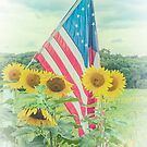 Sunflowers and American Flag by Debra Fedchin