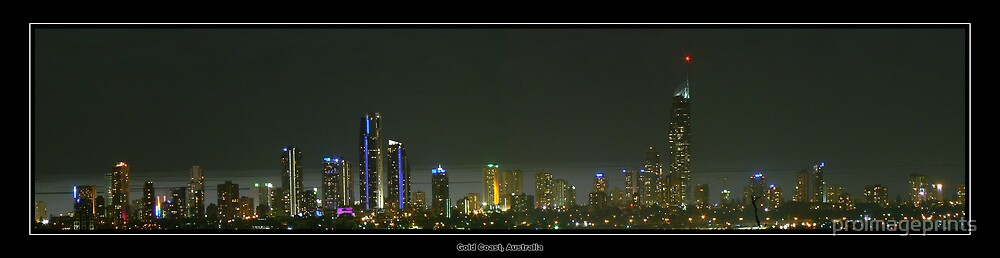 Night Panorama of Gold Coast Australia by proimageprints