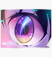 Mitsuha's eyes watching the meteor Poster