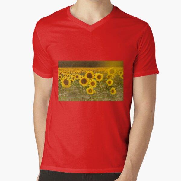 Sunlit field of Sunflowers V-Neck T-Shirt