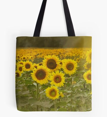 Sunlit field of Sunflowers Tote Bag