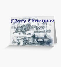 A computer enhanced pencil drawing of Romanian Ancient Family Rowing Barge for Christmas  Greeting Card