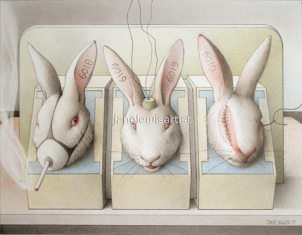 Earthlings - Rabbits in Stocks by janelewisartist