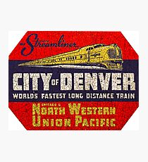 Denver Streamliner - City of Denver North Western Union Pacific Rail  USA Photographic Print