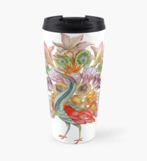 Botanical Watercolor Peacock  Travel Mug