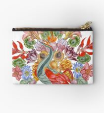 Botanical Watercolor Peacock  Zipper Pouch
