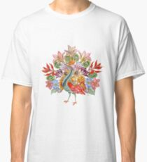 Botanical Watercolor Peacock  Classic T-Shirt