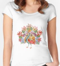 Botanical Watercolor Peacock  Fitted Scoop T-Shirt