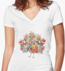 Botanical Watercolor Peacock  Fitted V-Neck T-Shirt