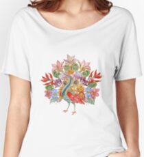 Botanical Watercolor Peacock  Relaxed Fit T-Shirt
