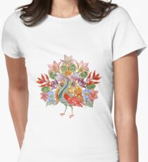 Botanical Watercolor Peacock  Women's Fitted T-Shirt