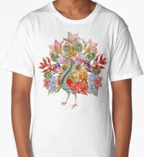 Botanical Watercolor Peacock  Long T-Shirt