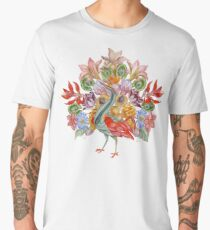 Botanical Watercolor Peacock  Men's Premium T-Shirt