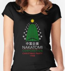 Nakatomi Corporation Christmas Party Snowflake Tower Women's Fitted Scoop T-Shirt