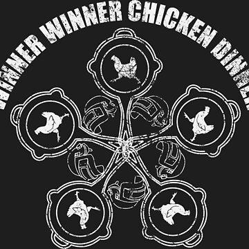 CHICKEN DINNER MANDALA- white by em-s