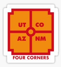 Four Corners - Orange und Rot Sticker