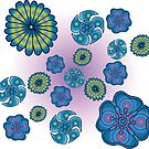 Psychedelic blue flowers by cosmicesoteric