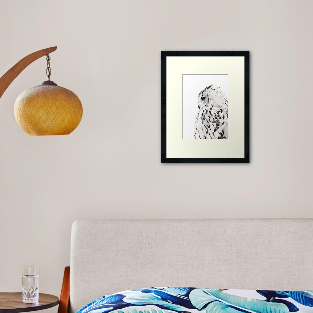 White owl print, polar bird Scandinavian art Framed Art Print