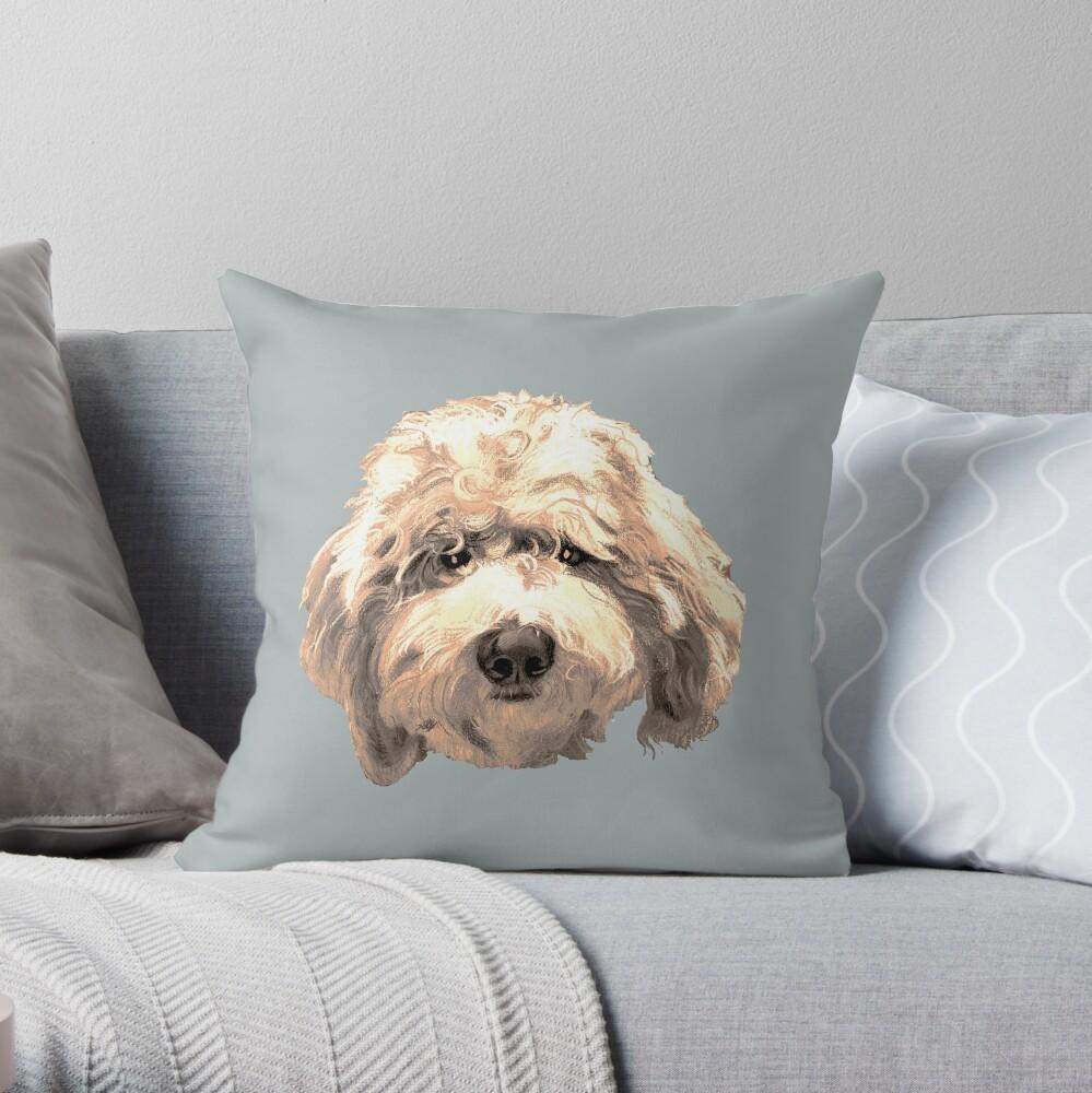 Lucky Labradoodle Face ~ Golden Throw Pillow